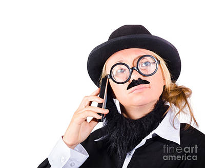 Humorous Worker With Mobile Phone Print by Jorgo Photography - Wall Art Gallery