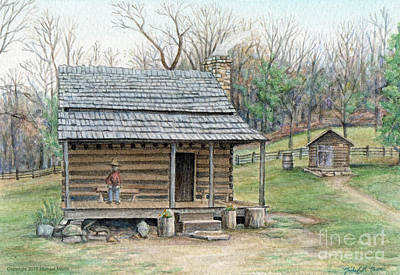 Log Cabin Art Mixed Media - Humpback Cabin by Michael  Martin