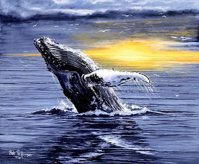 Humpback Whale Breaching Print by Bob Patterson