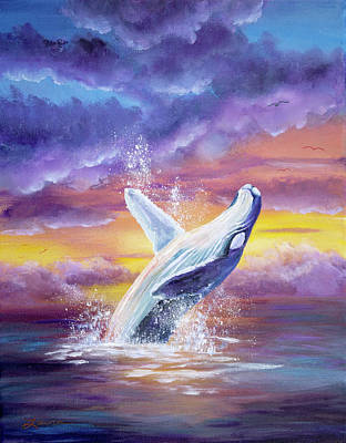 Humpback Whale In Sunset Print by Laura Iverson