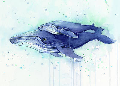 Cow Mixed Media - Humpback Whale Mom And Baby Watercolor by Olga Shvartsur