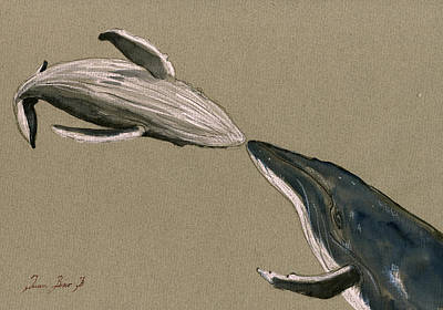 Humpback Whale Painting Print by Juan  Bosco