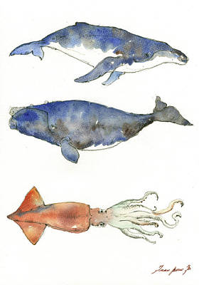 Whale Painting - Humpback Whale, Right Whale And Squid by Juan Bosco