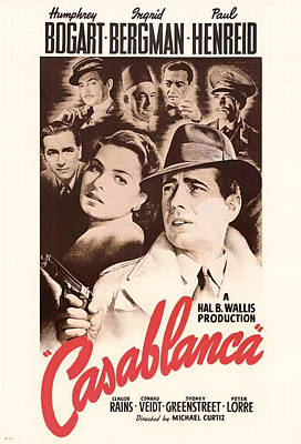 Classic Film Star Mixed Media - Humphrey Bogard And Ingrid Bergman In Casablanca 1942 by Mountain Dreams
