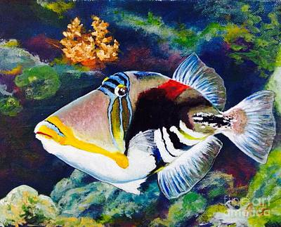 Triggerfish Painting - Humu Humu Picasso Triggerfish  by Alexander Gatsaniouk