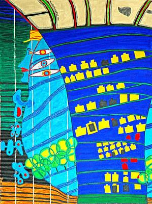 Hundertwasser Blue Moon Atlantis Escape To Outer Space Original by Jesse Jackson Brown