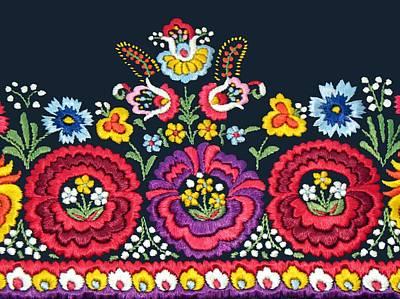 Photograph - Hungarian Magyar Matyo Folk Embroidery Detail by Andrea Lazar