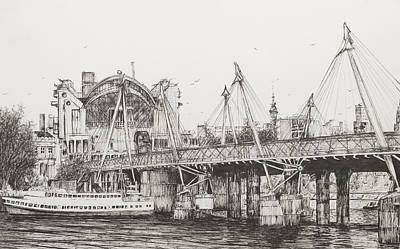 Architecture Drawing - Hungerford Bridge by Vincent Alexander Booth