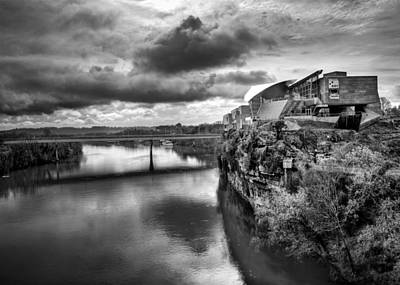 Hunter Museum And Tennessee River In Black And White Print by Greg Mimbs
