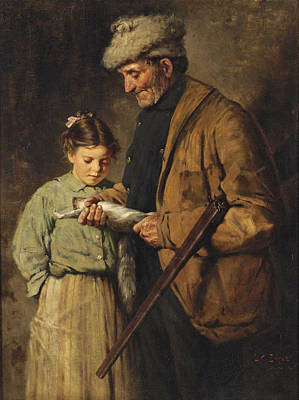 Painting - Hunter With Young Girl by Lawrence Carmichael Earle