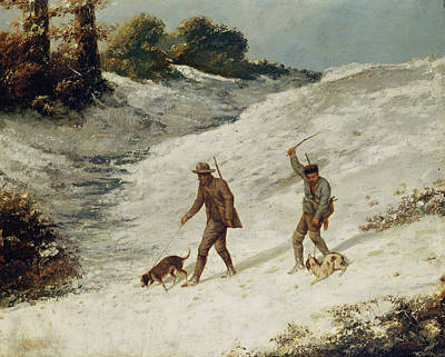 Dog In Landscape Painting - Hunters In The Snow Or The Poachers by Gustave Courbet