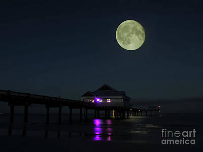 Man In The Moon Photograph - Hunters Moon At Pier 60 by D Hackett