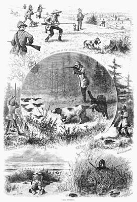 Rabbit Hunting Photograph - Hunting, 1877 by Granger