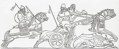 Ancient Civilization Drawing - Hunting Wild Bull In Ancient Assyria by Vintage Design Pics