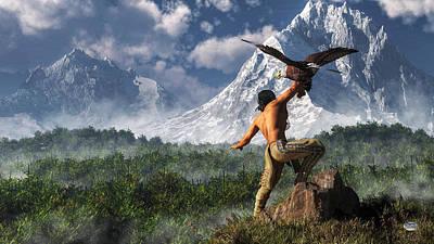 Hunting With An Eagle Print by Daniel Eskridge