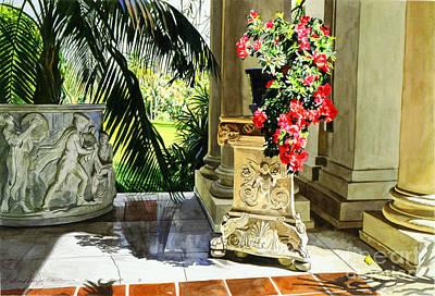 Vase Painting - Huntington Loggia by David Lloyd Glover
