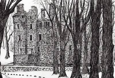 Pen And Ink Tree Drawing - Huntly Castle by Vincent Alexander Booth