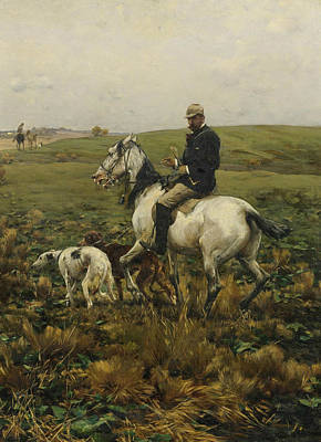 Polish Painters Painting - Huntsman With Hounds by Alfred Kowalski