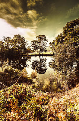 Vivid Fall Colors Photograph - Huonville River Reflections by Jorgo Photography - Wall Art Gallery