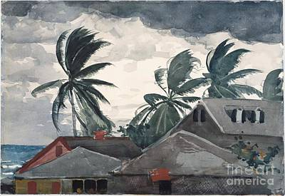 Relating Painting - Hurricane In Bahamas by Winslow Homer