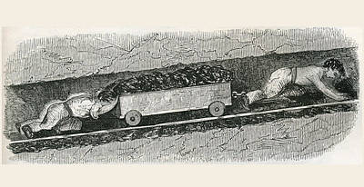 London Tube Drawing - Hurriers In A Lancashire Coal Pit. A by Vintage Design Pics