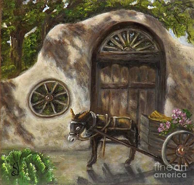 Southwest Gate Painting - Hurry Up And Wait by Donna Vesely