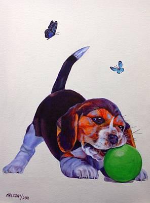 Dog Playing Ball Painting - Hush Puppy Playing by Susana Falconi