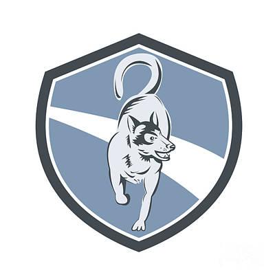 Husky Dog Crest Retro Print by Aloysius Patrimonio
