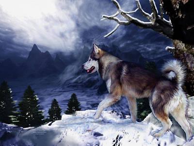 Husky - Mountain Spirit Print by Carol Cavalaris