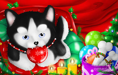 Husky Puppy Love Christmas 's Day Print by TheoFeatheR