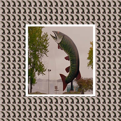 Husky The Muskie Kenora Ontario  Roadside Attractions Photography Artistic Graphic Digital Touch  Print by Navin Joshi