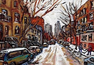 Hutchison At Prince Arthur Montreal Street Scene Painting Toward Downtown Kids Playing Hockey  Print by Carole Spandau