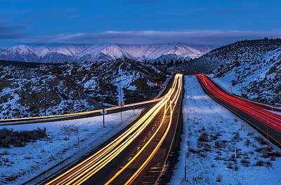 Winter Roads Photograph - Hwy. 395 At Blue Hour by Cat Connor