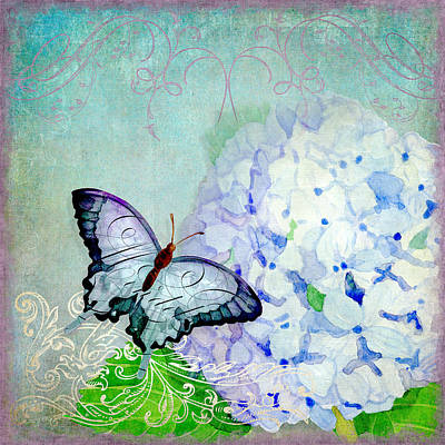 Etching Mixed Media - Hydrangea Dreams by Audrey Jeanne Roberts