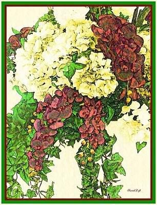 Orchids Digital Art - Hydrangea Orchid And Ivy Bouquet 5 by Sarah Loft