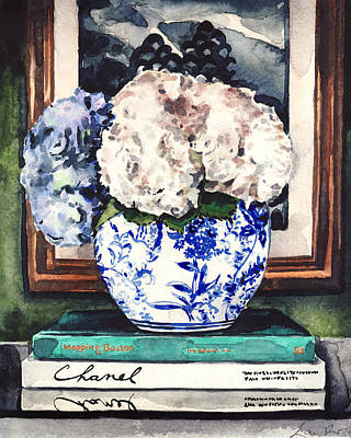 Fresh Flowers Painting - Hydrangeas In Blue And White Chinoiserie Melon Vase With Books by Laura Row