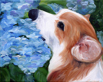 Puppy Painting - Hydrangeas by Mary Sparrow