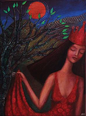 Woman In Red Dress Painting - Hymn To Night by Alice Mason