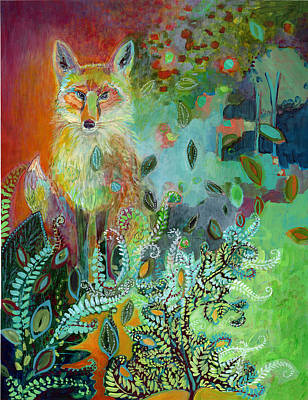 Abstract Wildlife Painting - I Am The Forest Path by Jennifer Lommers