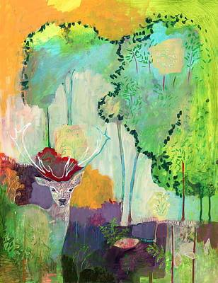 Abstract Deer Painting - I Am The Meadow In The Forest by Jennifer Lommers