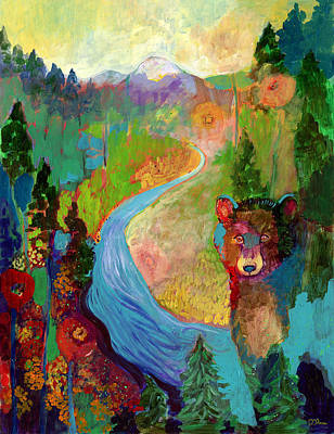 Abstract Wildlife Painting - I Am The Mountain Stream by Jennifer Lommers