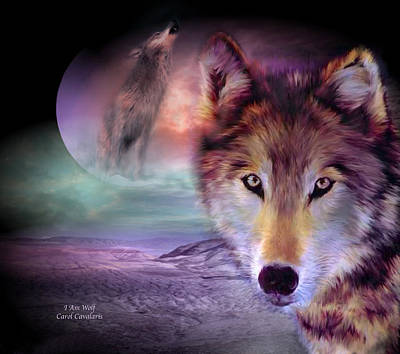 Animal Art Giclee Mixed Media - I Am Wolf by Carol Cavalaris