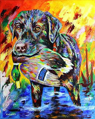 Chocolate Labrador Retriever Painting - I Can Do This All Day by Karl Wagner