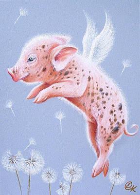 Piglets Drawing - I Can Fly Too by Elena Kolotusha