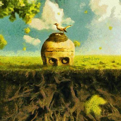 Roots Digital Art - I Can See You Bird - Da by Leonardo Digenio