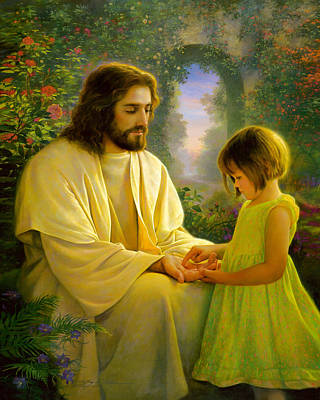 Little Girl Painting - I Feel My Savior's Love by Greg Olsen