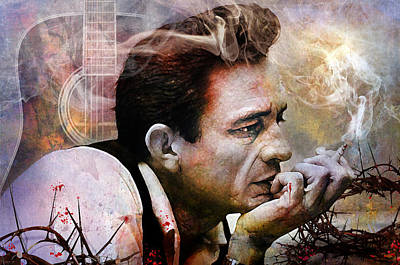 Johnny Cash Mixed Media - I Focus On The Pain by Mal Bray