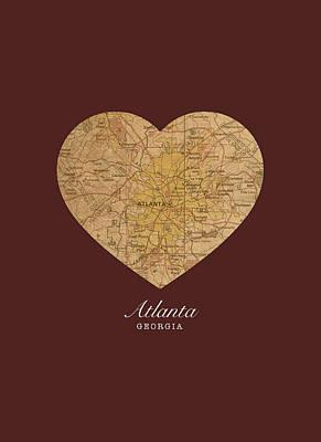 City Streets Mixed Media - I Heart Atlanta Georgia Vintage City Street Map Americana Series No 013 by Design Turnpike
