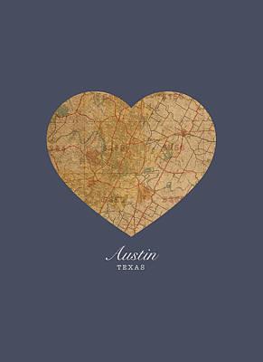 Austin Mixed Media - I Heart Austin Texas Vintage City Street Map Americana Series No 028 by Design Turnpike