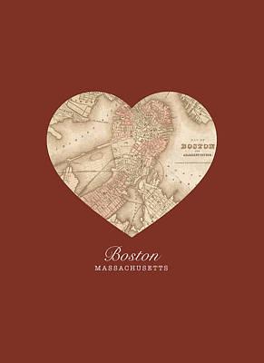 City Streets Mixed Media - I Heart Boston Massachusetts Vintage City Street Map Americana Series No 011 by Design Turnpike